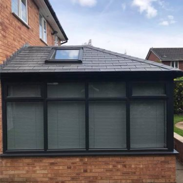 Guardian Roof Conversion Anthracite grey frames with anti glare tinted glass.
